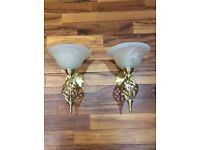 2 x Gold Coloured Wall Light Fixture Fitting