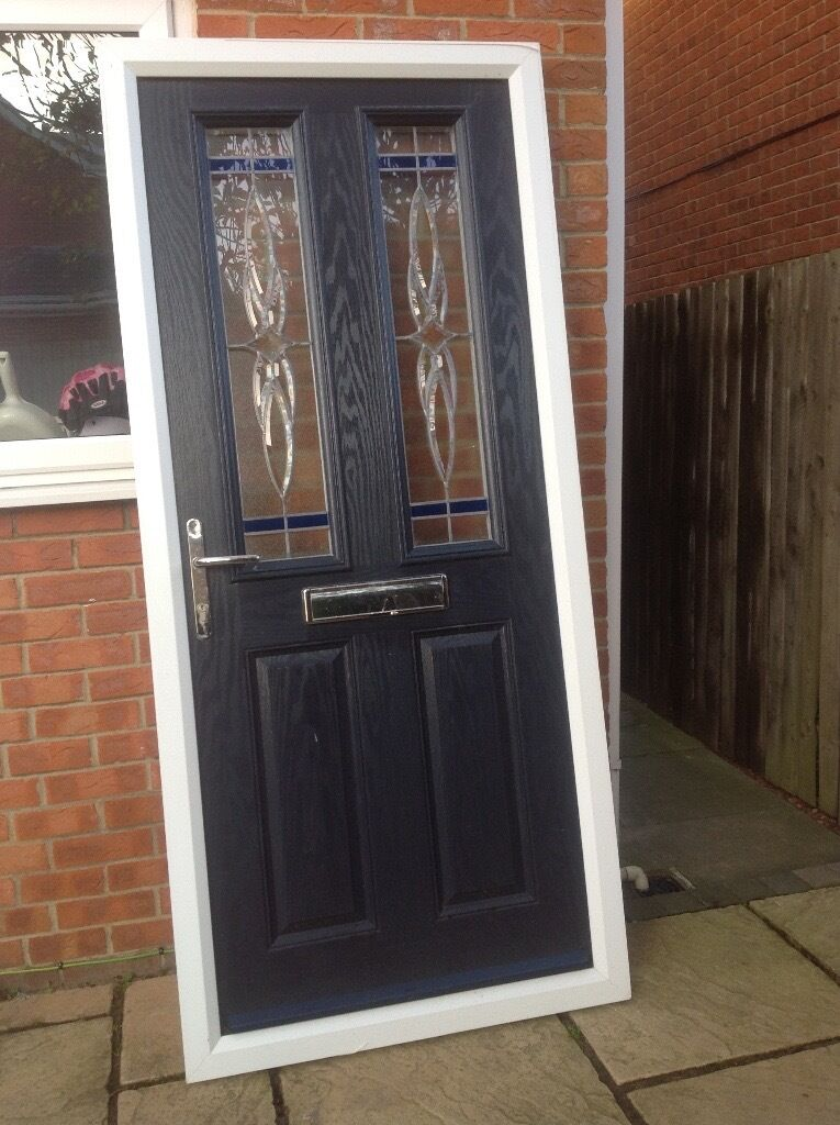 Dark blue composite front door only selling as new door for Exterior doors fitted