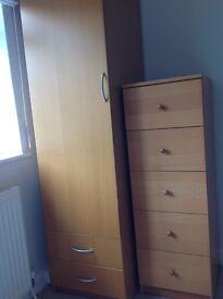Beech single wardrobe and matching drawers