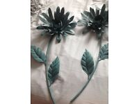 2 x Teal metal wall art , flowers from next . Exellent condition .