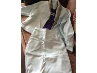 Ladies light blue leather suit, Hand made.