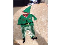 Kids Christmas Elf costume, reindeer gloves & hat, all in one, trainers....
