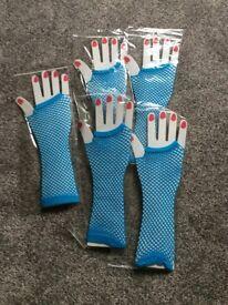 turquoise fishnet gloves brand new
