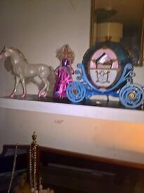 barbie horse carrage and doll
