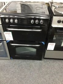 Black leisure gourmet electric cooker 60cm double oven new graded 12 months gtee £549