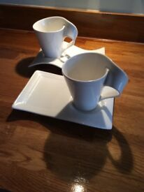 Villerory-boch NewWave coffee mug and party plate x 2. Beautiful quality, these are new .