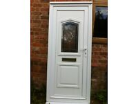 White UPVC front door with bevelled glass in very good condition Height 2090 mm Width 900 mm