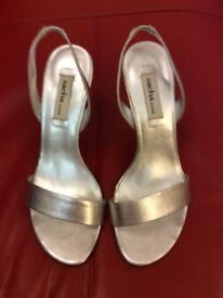 Ladies real leather silver shoes size 6.