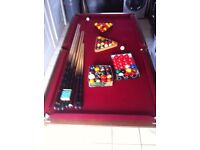pool snooker table slate bed 3ft x 6ft playing surface