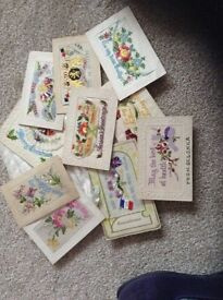 Embroidered old post cards