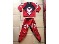 "Alloy Motocross trousers (size 28"") and top (Size S)"
