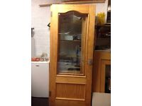 Light wood solid doors with glass panel x5 for sale