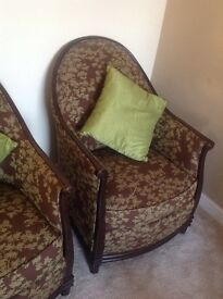 BUCKET CHAIRS (pair)?with dark wood trim. Good condition.