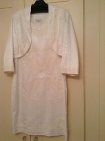 SHORT CREAM WEDDING DRESS & JACKET Size 16