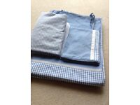 LAURA ASHLEY SINGLE BLUE AND WHITE GINGHAM CHECK DUVET COVER, PILLOWCASE AND FITTED SHEEt