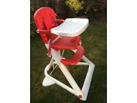 Red and White High Chair