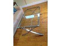 Glass and chrome coffee table for sale