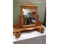 Wooden free standing mirror unit