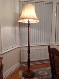 A lovely Antique Elm Standard Lamp and Shade