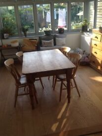 Pine table and four chairs