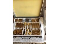 72 piece cutlery set gold plated