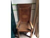 Solid oak high backed ceremonial chairs