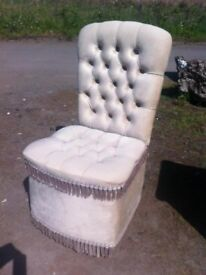 Beautiful button back boudoir chair with under seat storage (very pale mint colour)