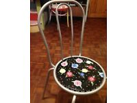 Gorgeous kitchen chair Hand painted Black and silver metal