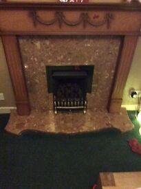 "Marble hearth, fire surround and gas fire , hearth length 54"" , depth 14"" , height 2 ""."
