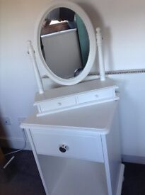 Painted pine bedside unit and mirror