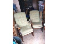 Two high back fireside chairs