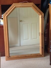 Large Solid Pine (Antique colour) Mirror - Bedroom or Hallway