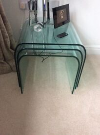 Italian high quality tempered curved glass tables- EMIGRATION SALE