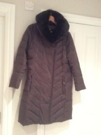 Brown padded coat with faux fur collar by Country Casuals, size 14. Only worn twice