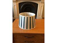 "Laura Ashley Vertical Stripe Teal/Green 12"" Silk Lamp/Light Drum Shade RRP £42. Like New."