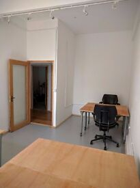 Tailored work offices, shared space, private studios, hot desks, high ceilings, lots of light