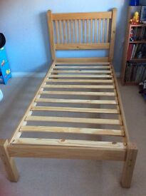 Wooden single bed frame £20