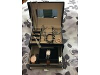 Bundle of watches jewellery and jewellery box