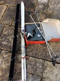 Skis, bindings, poles & boots (size 10)