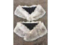 Grey fur shrug with diamante snowflake brooch