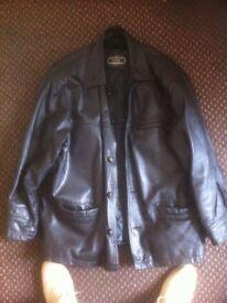 Mens designer black leather jacket. Suit 42-44 medium. £45 o.v.n.o