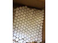 White Mosaic hexagonal tiles x 8 sheets