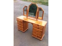 Lovely eight drawer solid pine dressing table/desk with sit on mirror