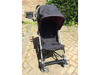 Stroller / Pushchair , black and purple , hood , folddown ,clean and in good condition