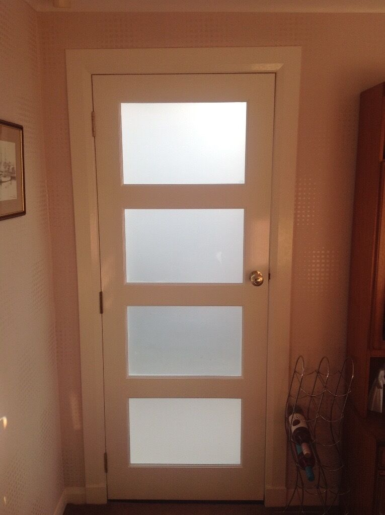 Interior Door White 4 Panel Frosted Glass In Cambuslang Glasgow