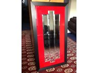 Contemporary Art Deco style mirror - black and red