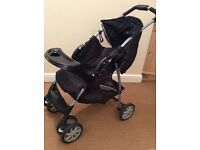 Graco used pushchair with rain cover and foot muff