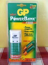 MINI POWER BANK PLUG IN CHARGER INCLUDING 2 X 1300mAh NI-MH AA BATTERIES