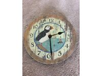 20cm diameter puffin clock excellent condition box& instructions battery operated needs 1x AA