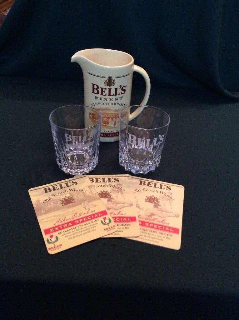 Bells Whisky Water Jug, whisky tumblers and coasters